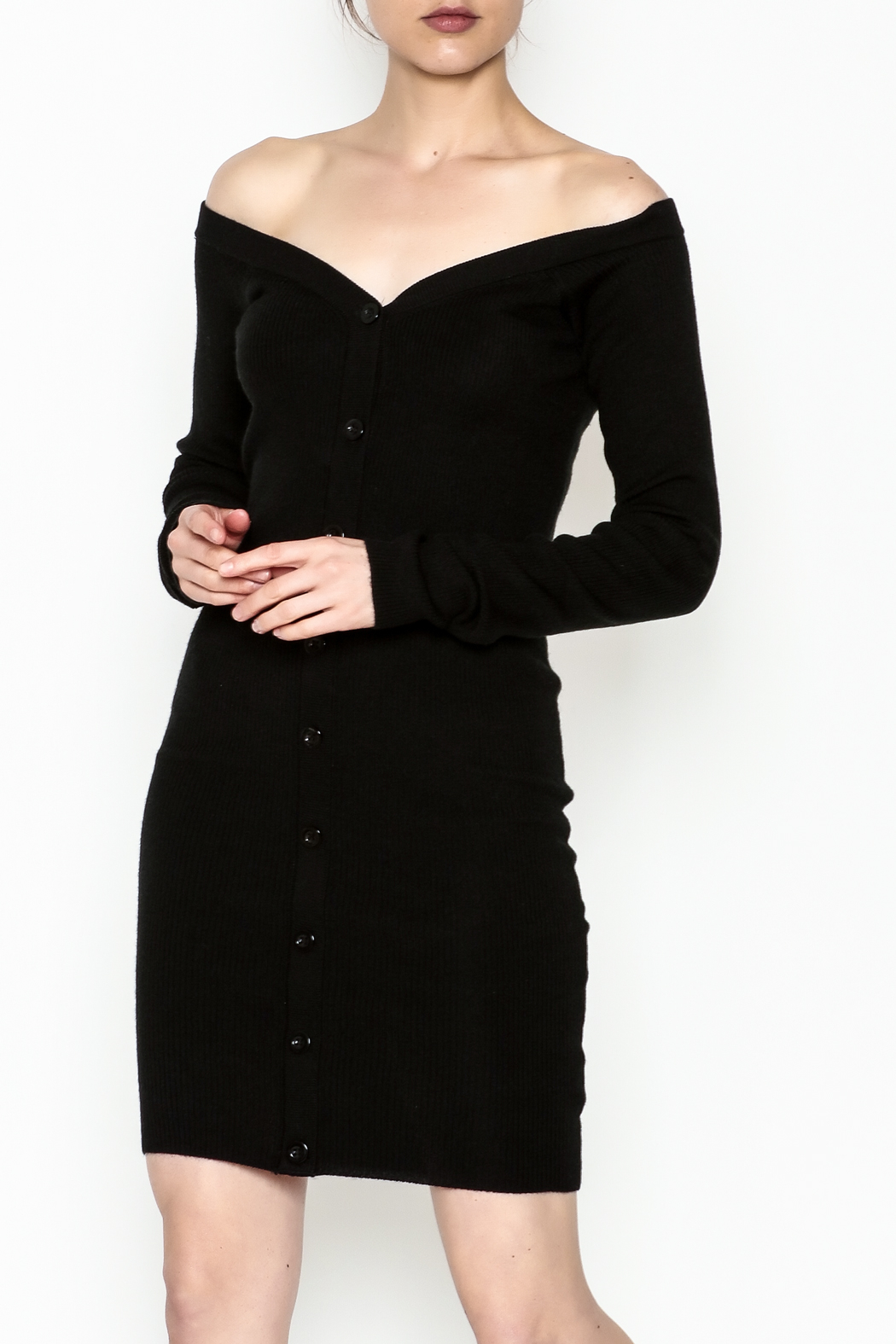 Line & Dot Sweater Dress - Front Cropped Image