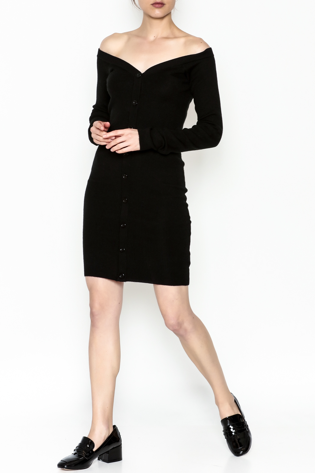 Line & Dot Sweater Dress - Side Cropped Image