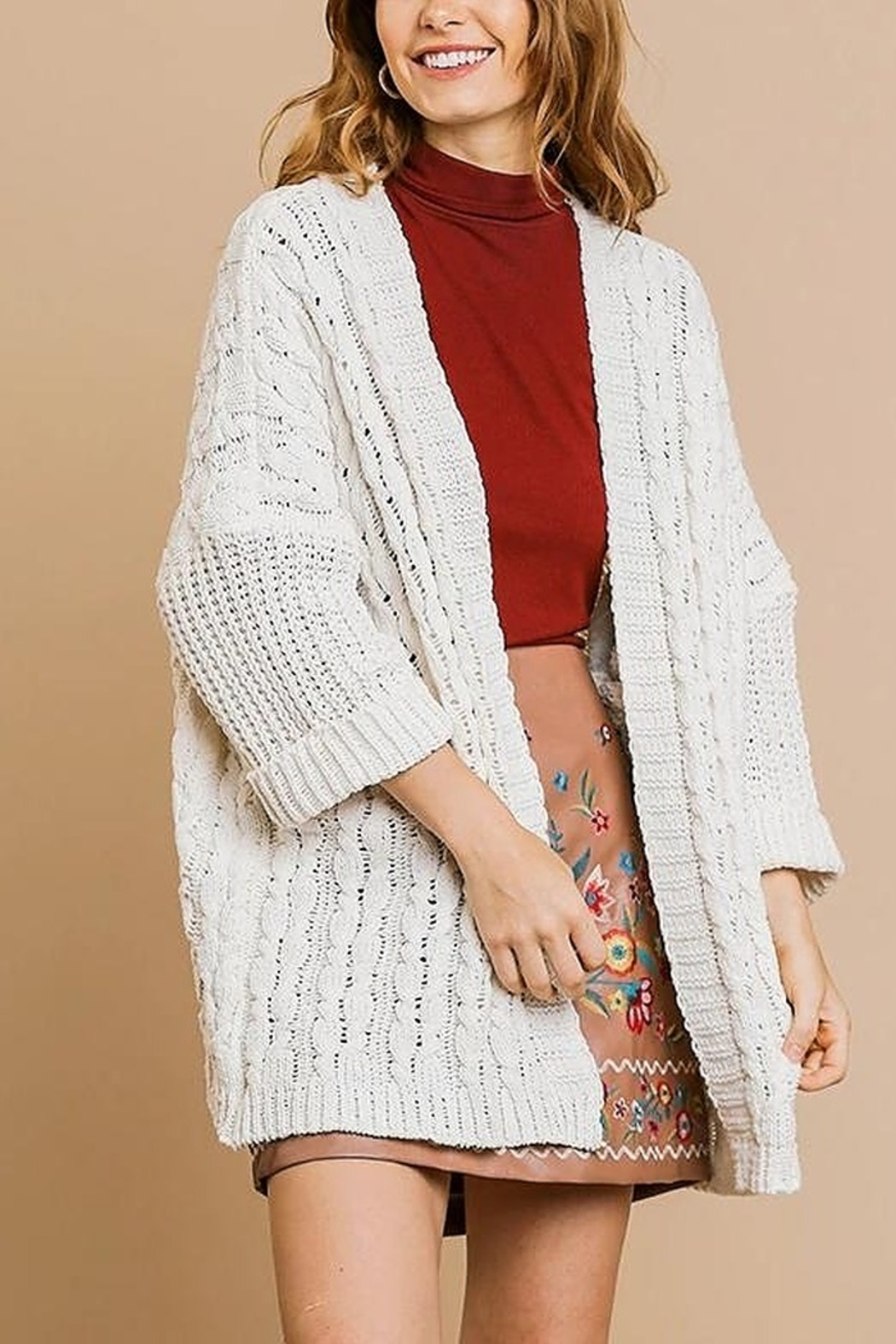 Umgee  Sweater Knit Cardigan - Front Cropped Image