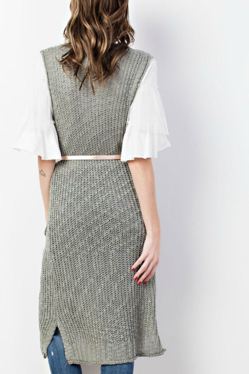easel Sweater-Knit Maxi Vest - Side Cropped Image