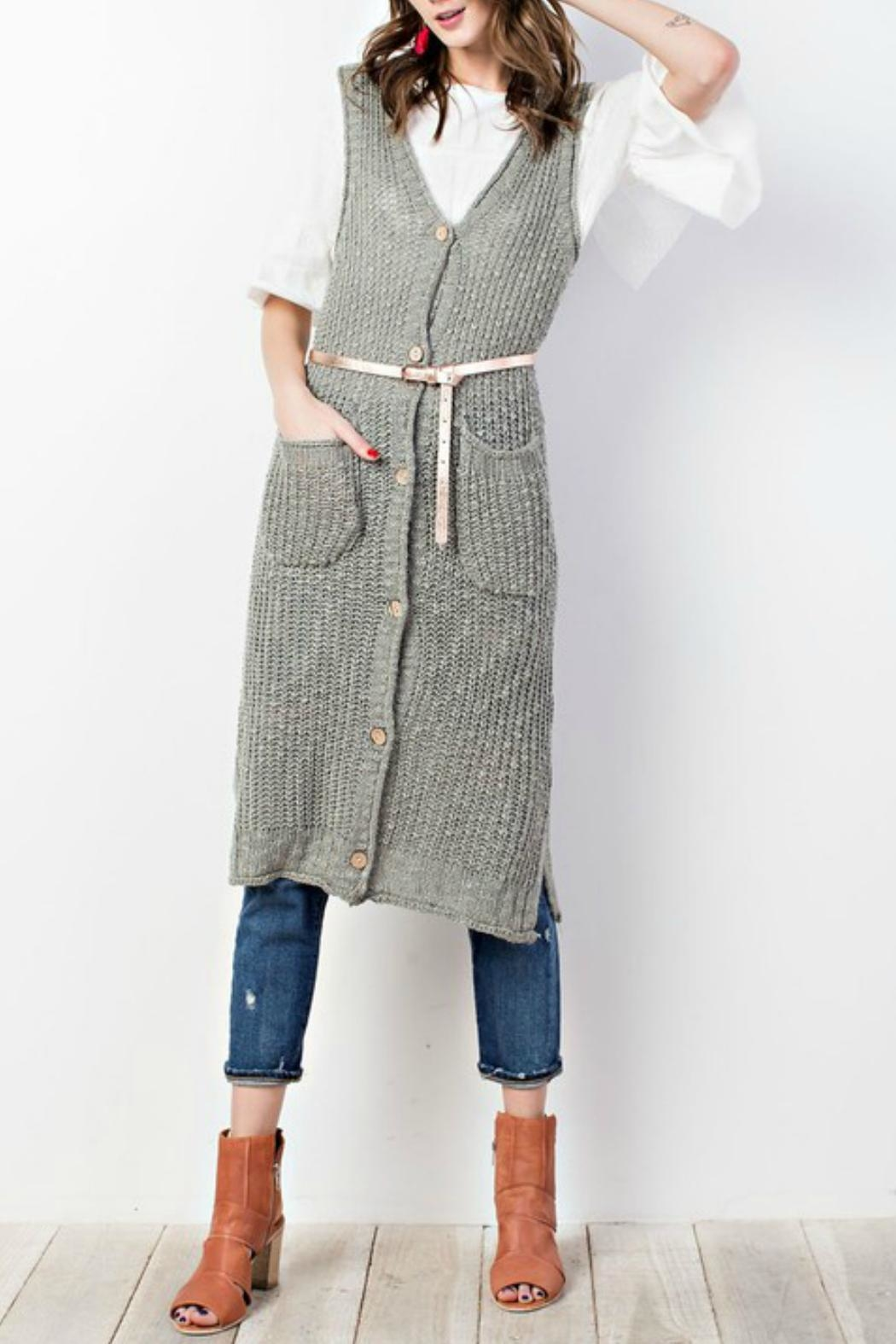 easel Sweater-Knit Maxi Vest - Main Image