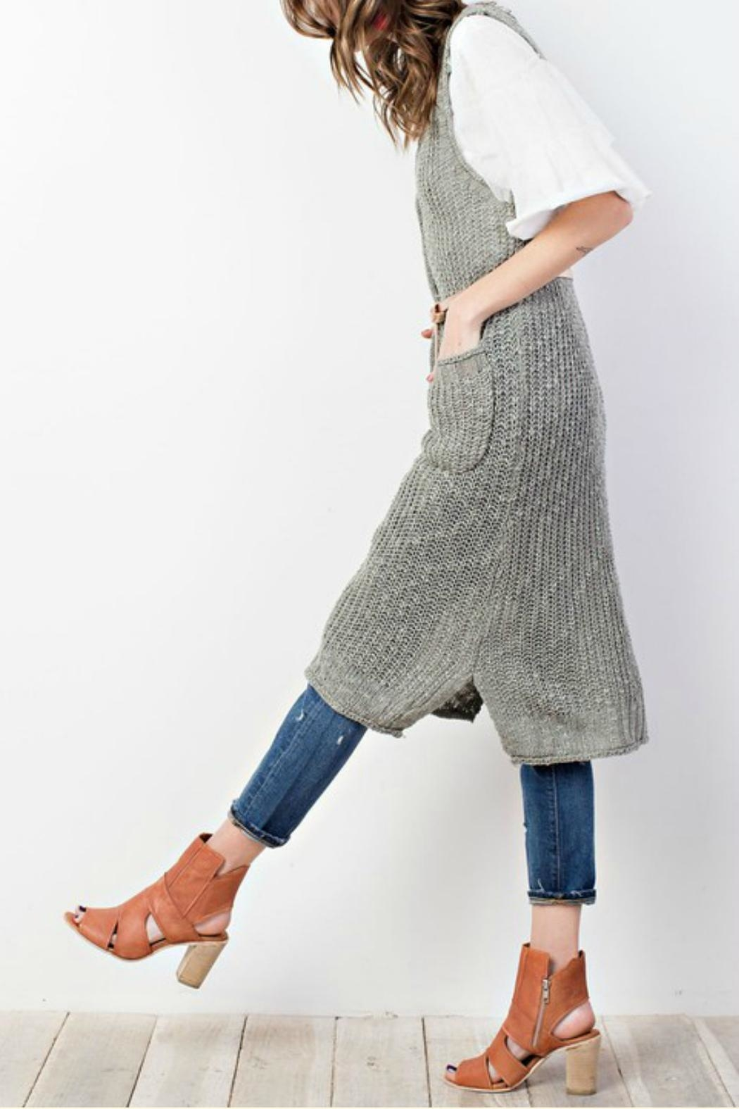 easel Sweater-Knit Maxi Vest - Front Full Image