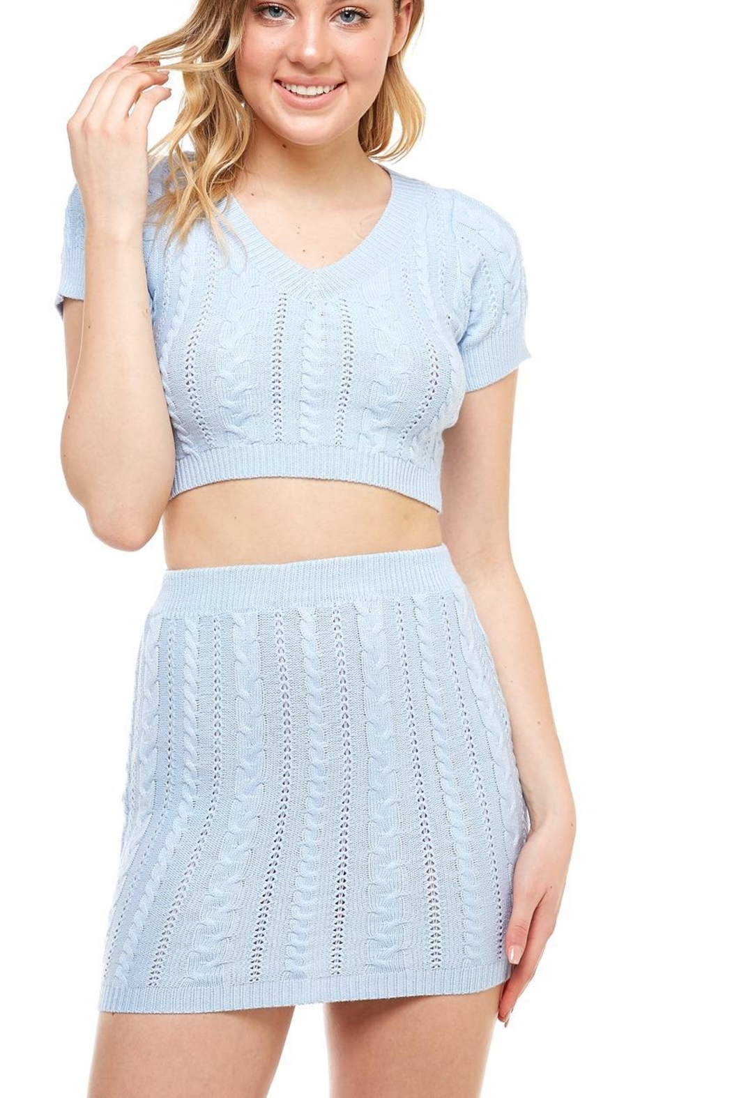 Hot & Delicious Sweater Skirt Set - Back Cropped Image