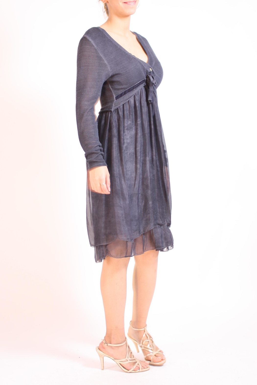 Talk of the Walk Sweater Top Dress - Front Full Image