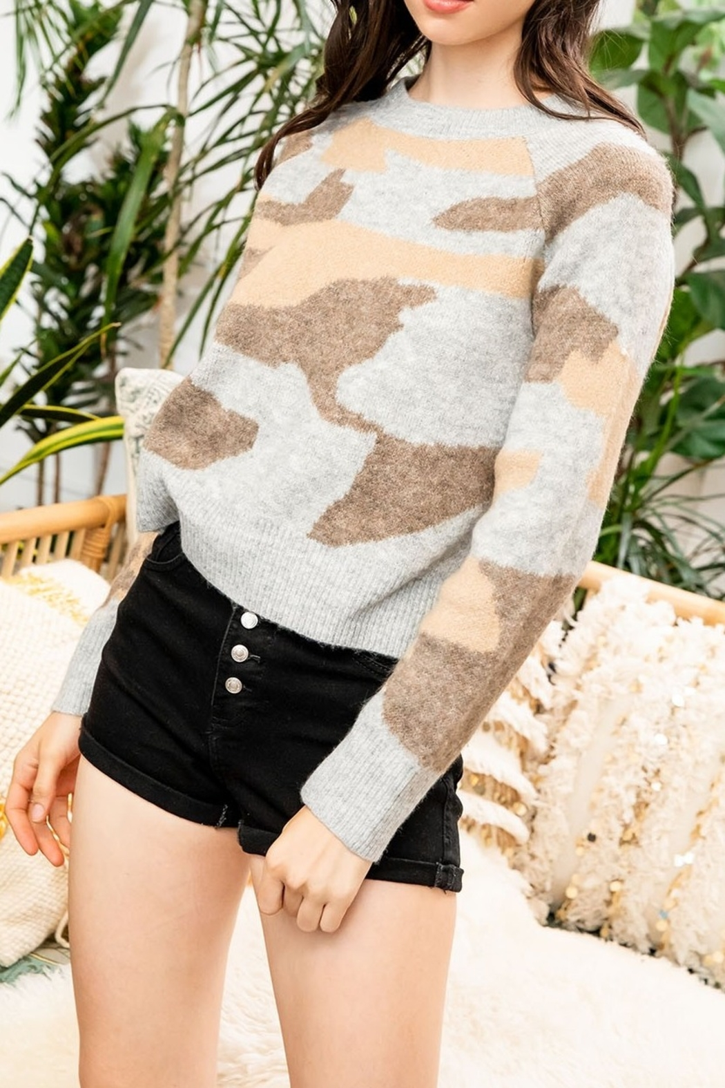 Thml Sweater with Camo Print - Main Image