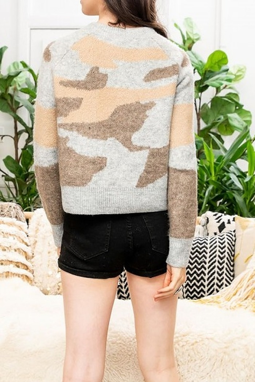 Thml Sweater with Camo Print - Front Full Image
