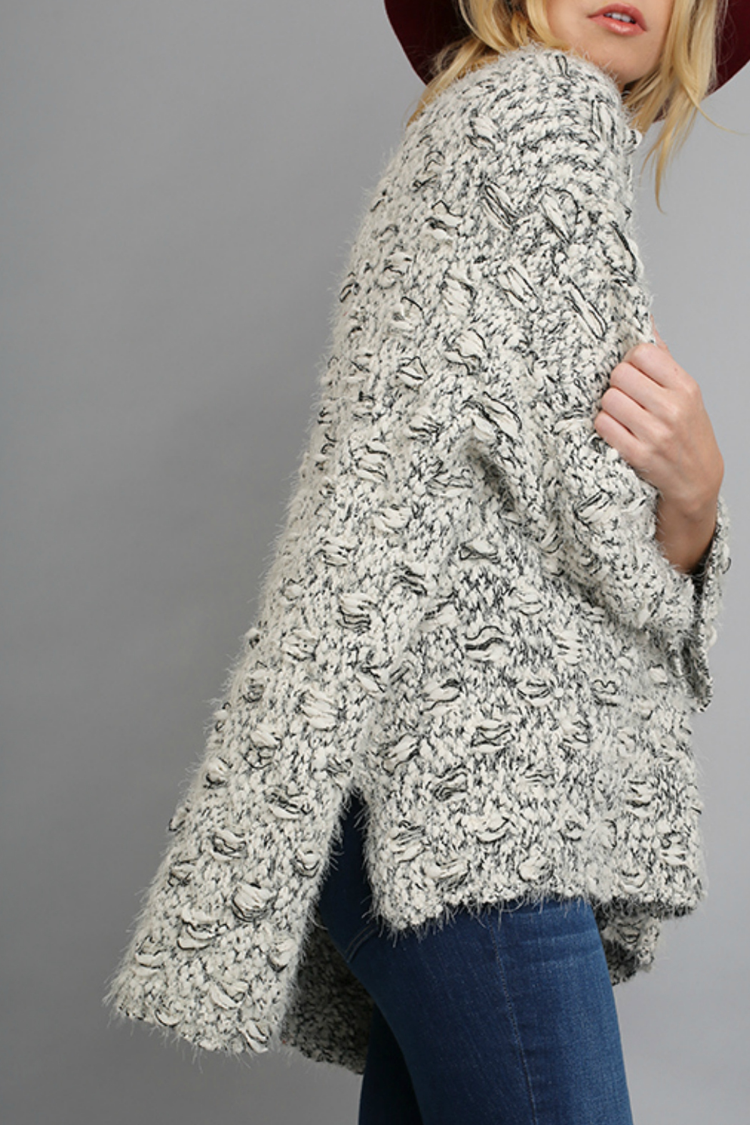 Umgee Sweater with high low hem line - Front Full Image
