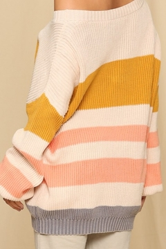 By Together  Sweater with Horizontal Knitted Stripes - Alternate List Image