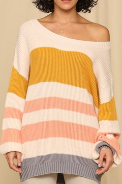 By Together  Sweater with Horizontal Knitted Stripes - Product List Image