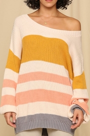 By Together  Sweater with Horizontal Knitted Stripes - Product Mini Image