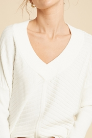 Wishlist Sweater with V-Neck Stripe Detail - Product Mini Image