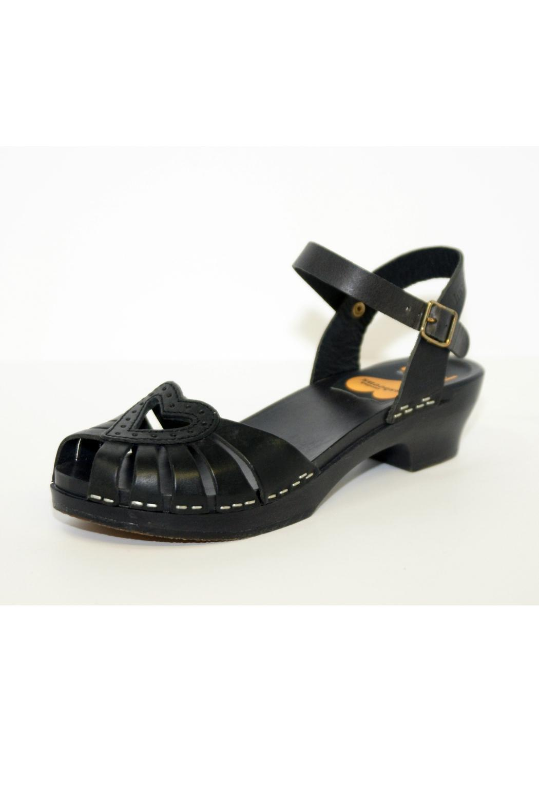 Swedish Hasbeens Black Leather Clog - Main Image