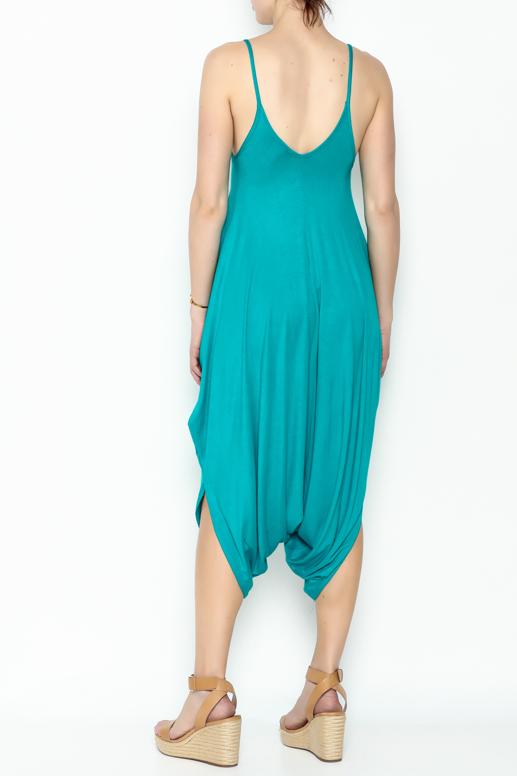 Sweet Candy Turquoise V Neck Jumpsuit - Back Cropped Image