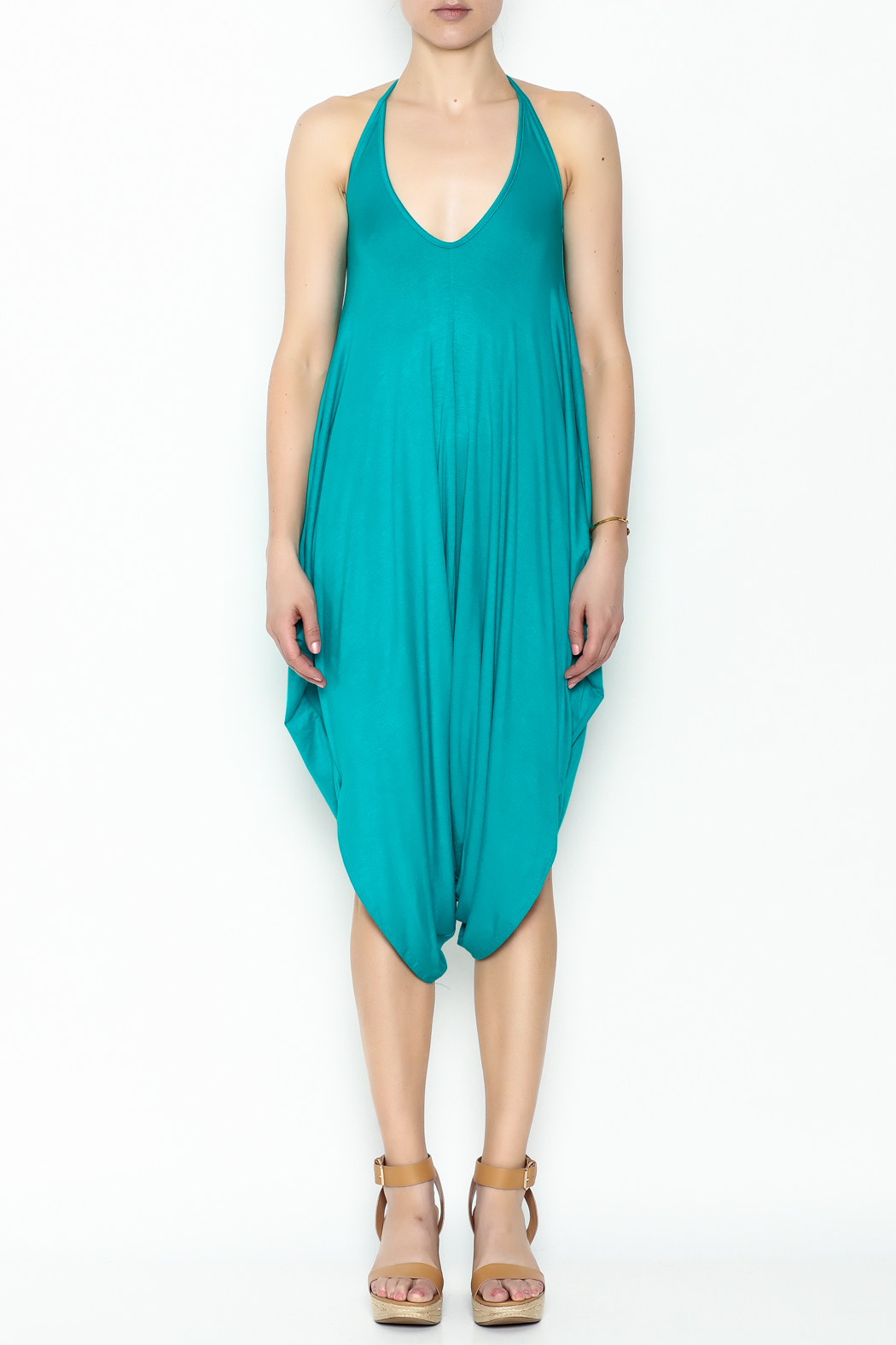 Sweet Candy Turquoise V Neck Jumpsuit - Front Full Image