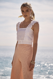 SAGE THE LABEL Sweet Escape Eyelet Tank - Front cropped