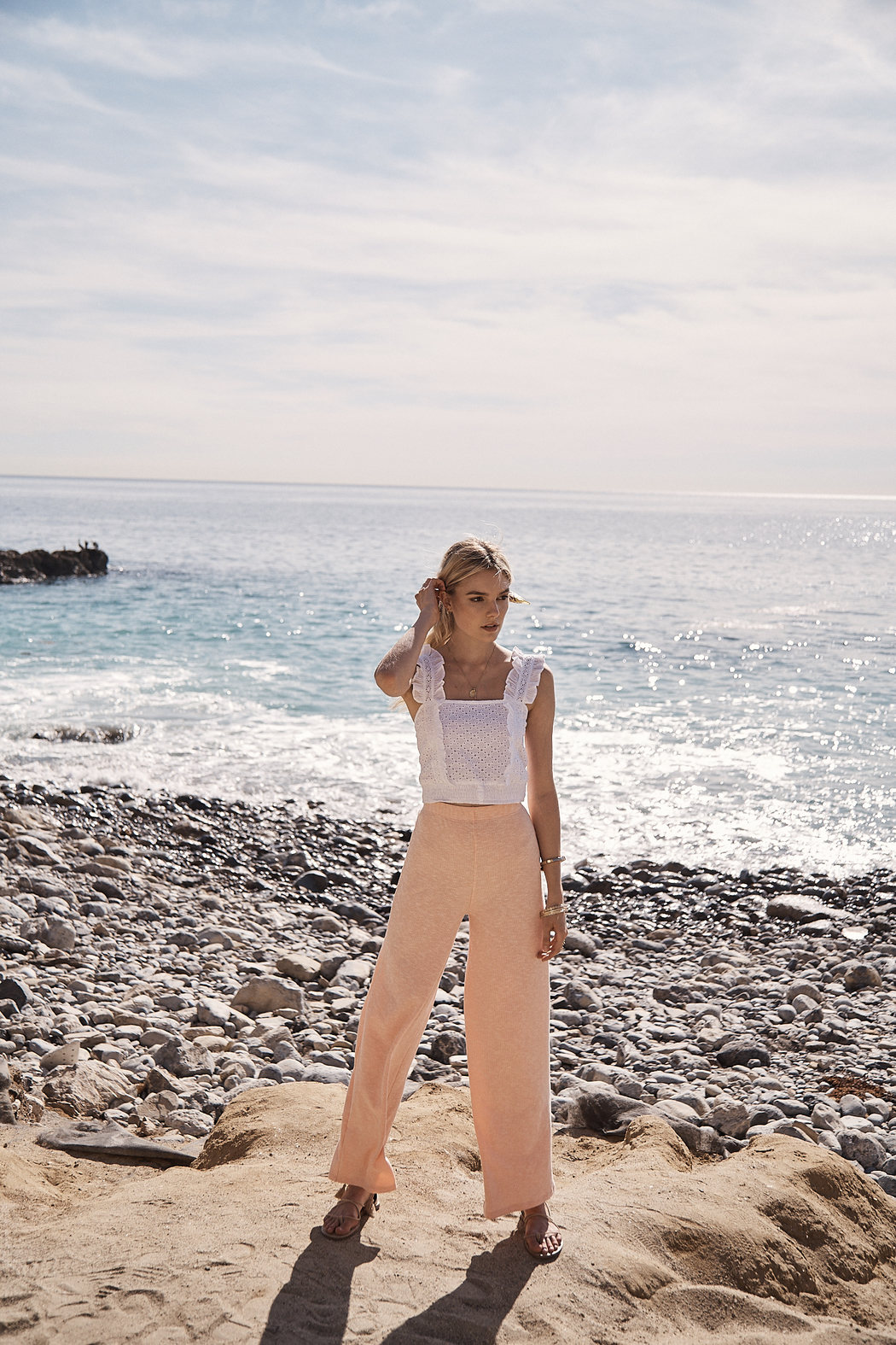 SAGE THE LABEL Sweet Escape Eyelet Tank - Front Full Image