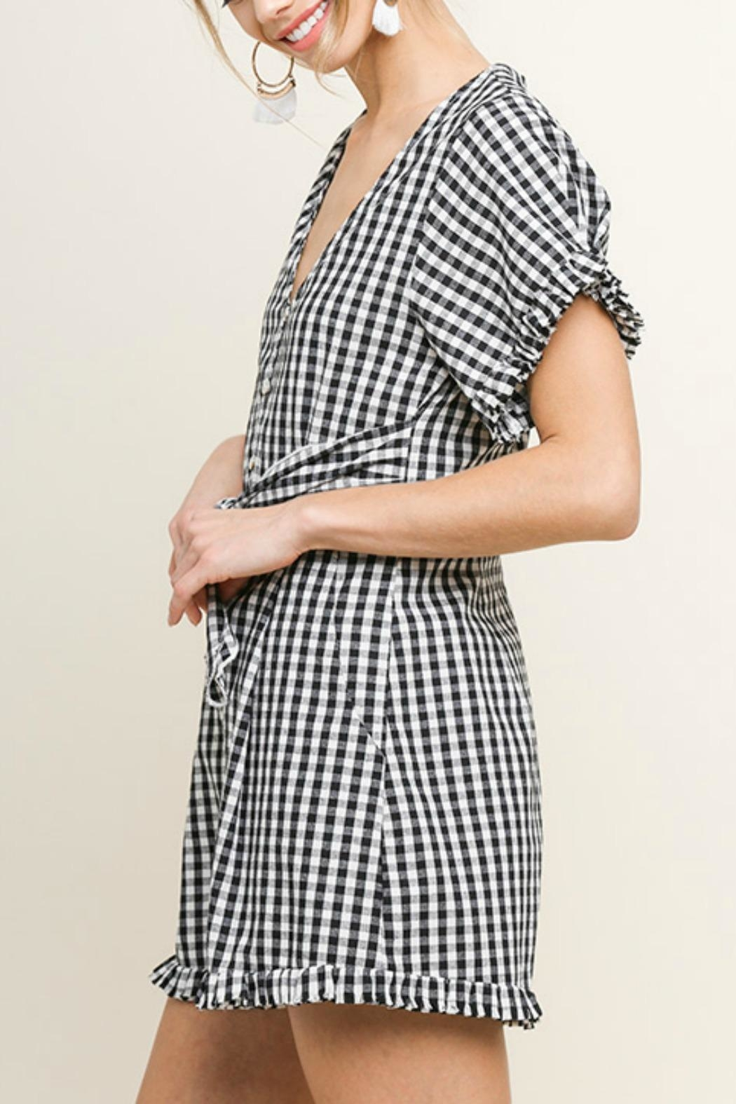 Umgee USA Sweet Gingham Romper - Front Full Image