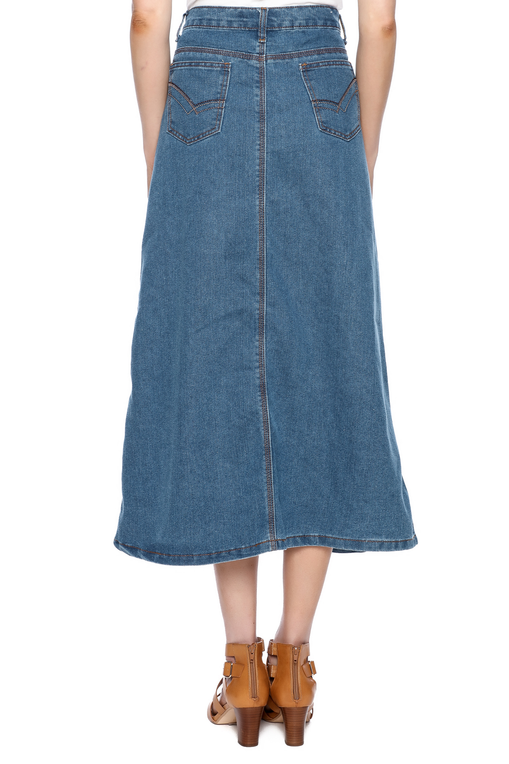 Sweet Jeans Casual Denim Maxi Skrt - Back Cropped Image