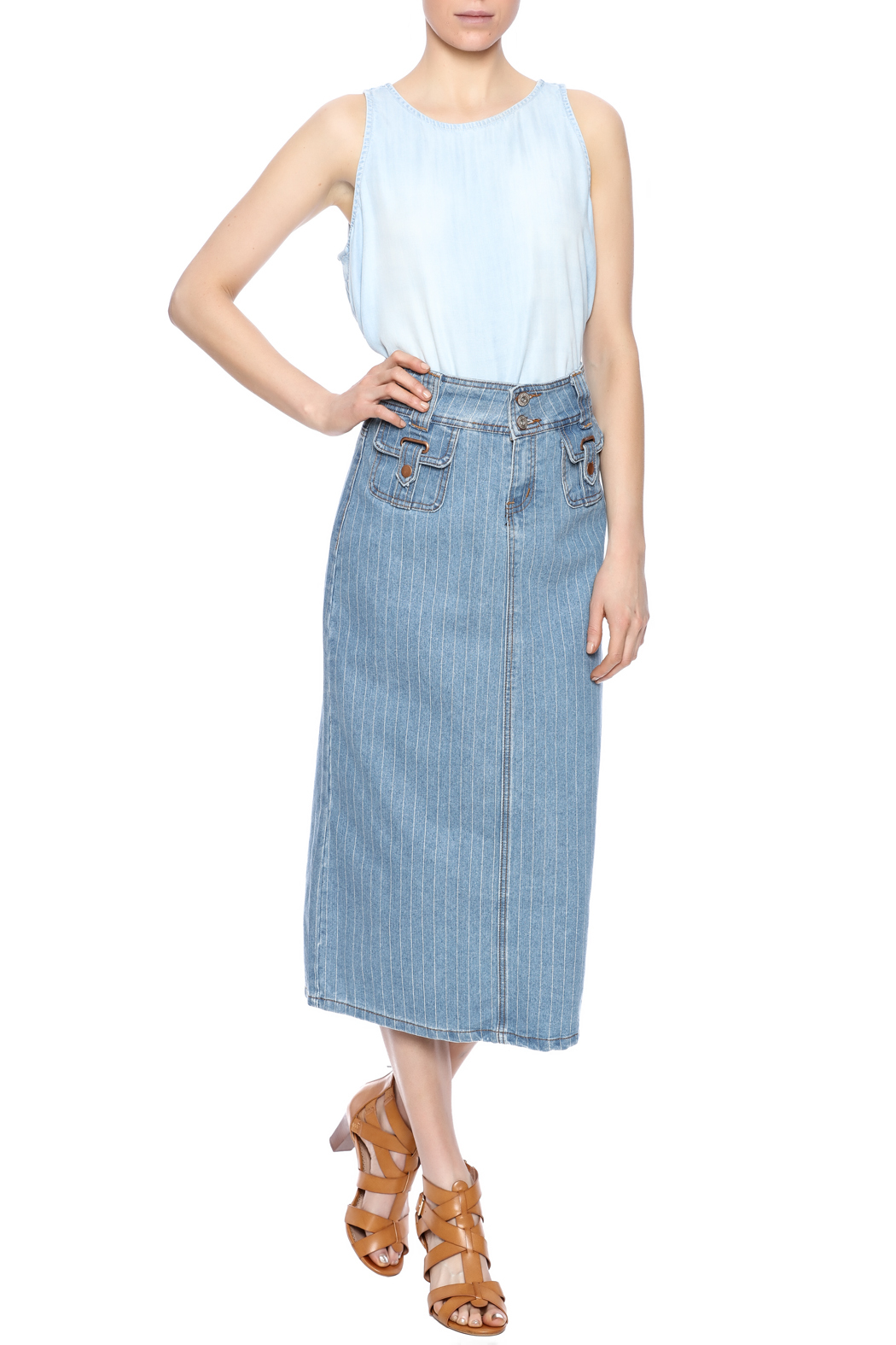 Sweet Jeans Pin Stripe Midi Skirt - Front Full Image