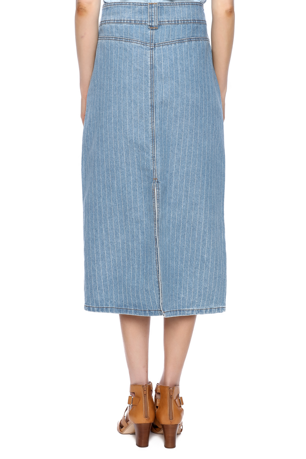 Sweet Jeans Pin Stripe Midi Skirt - Back Cropped Image