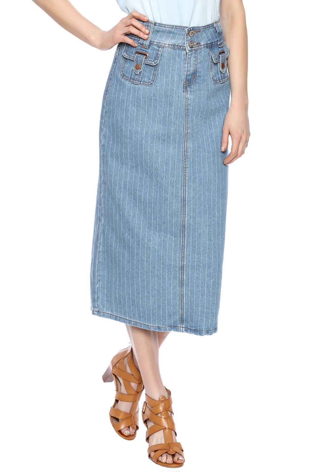 Sweet Jeans Pin Stripe Midi Skirt - Front Cropped Image