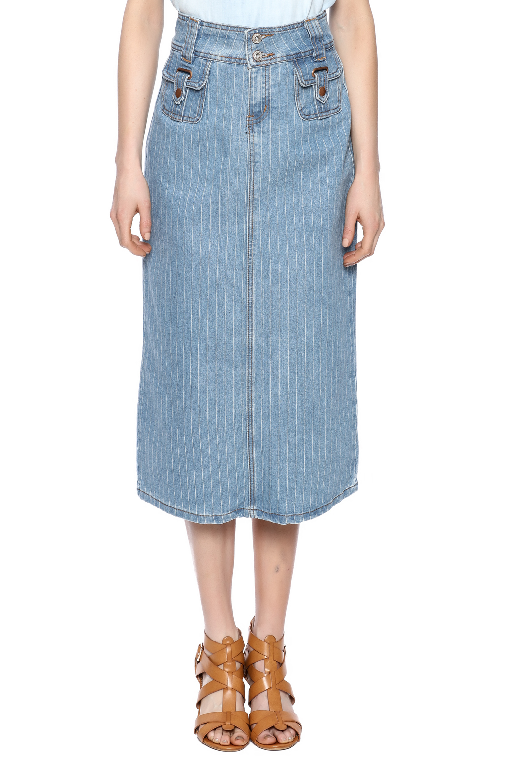 Sweet Jeans Pin Stripe Midi Skirt - Side Cropped Image