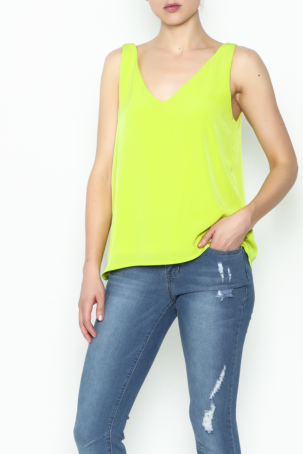 Sweet Rain Yellow Tank Top - Front Cropped Image