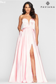 Faviana Sweet Satin Ballgown - Front cropped