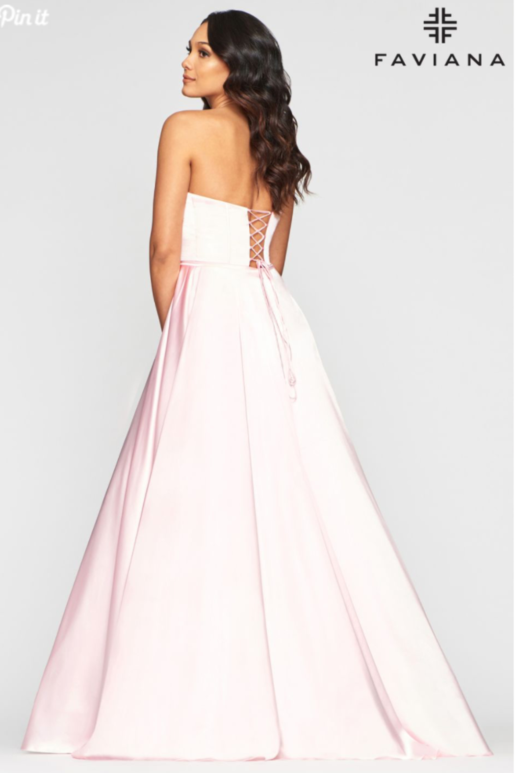 Faviana Sweet Satin Ballgown - Side Cropped Image