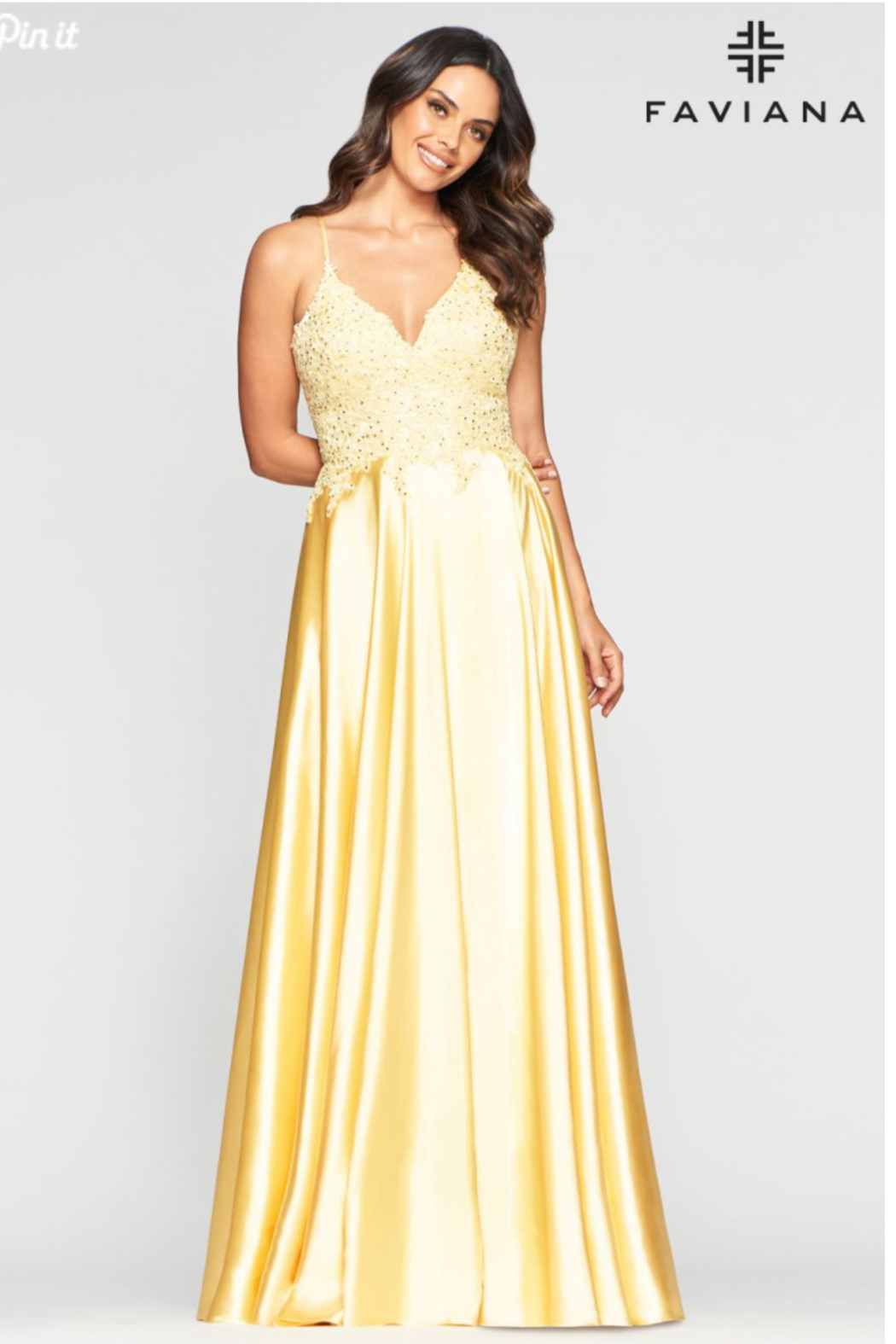 Faviana Sweet Yellow Gown - Front Cropped Image