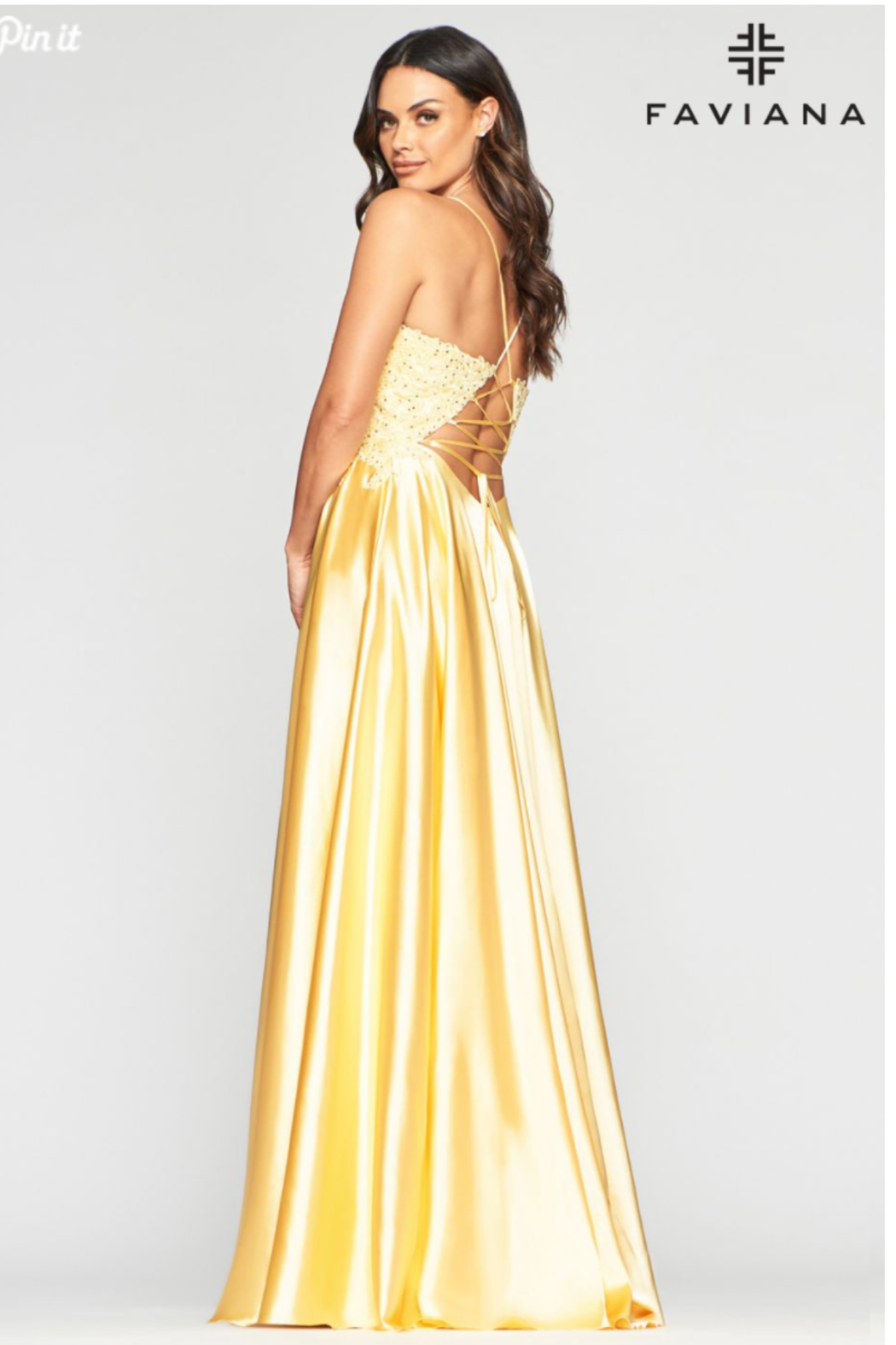 Faviana Sweet Yellow Gown - Front Full Image