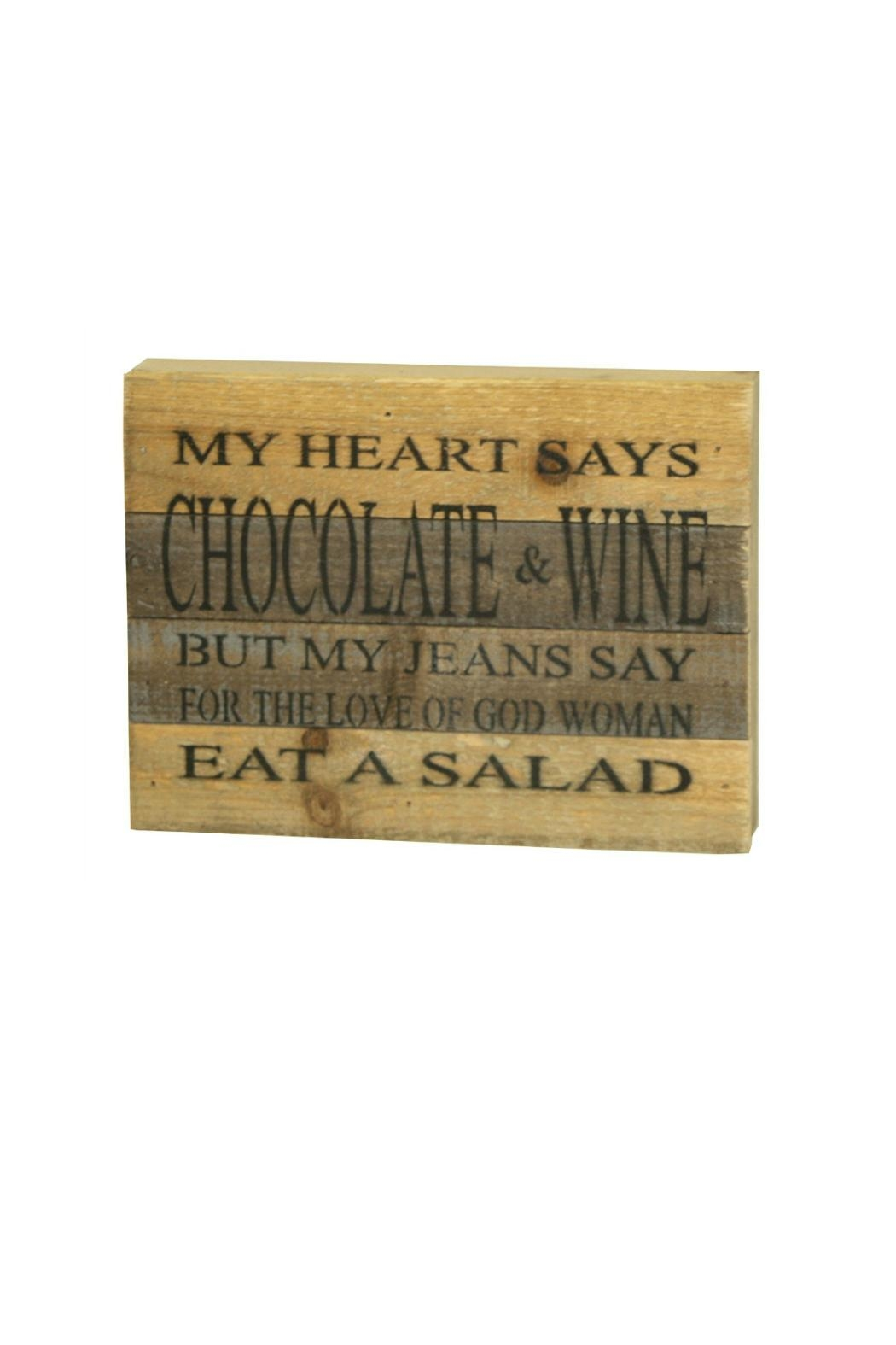 Sweet Bird & Co. Chocolate-Wine-Salad Reclaimed-Wood Sign - Front Cropped Image