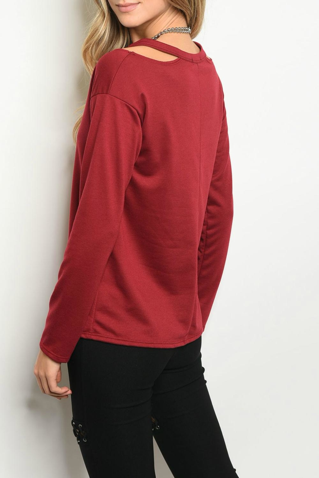 Sweet Claire Burgundy  Sweater - Front Full Image
