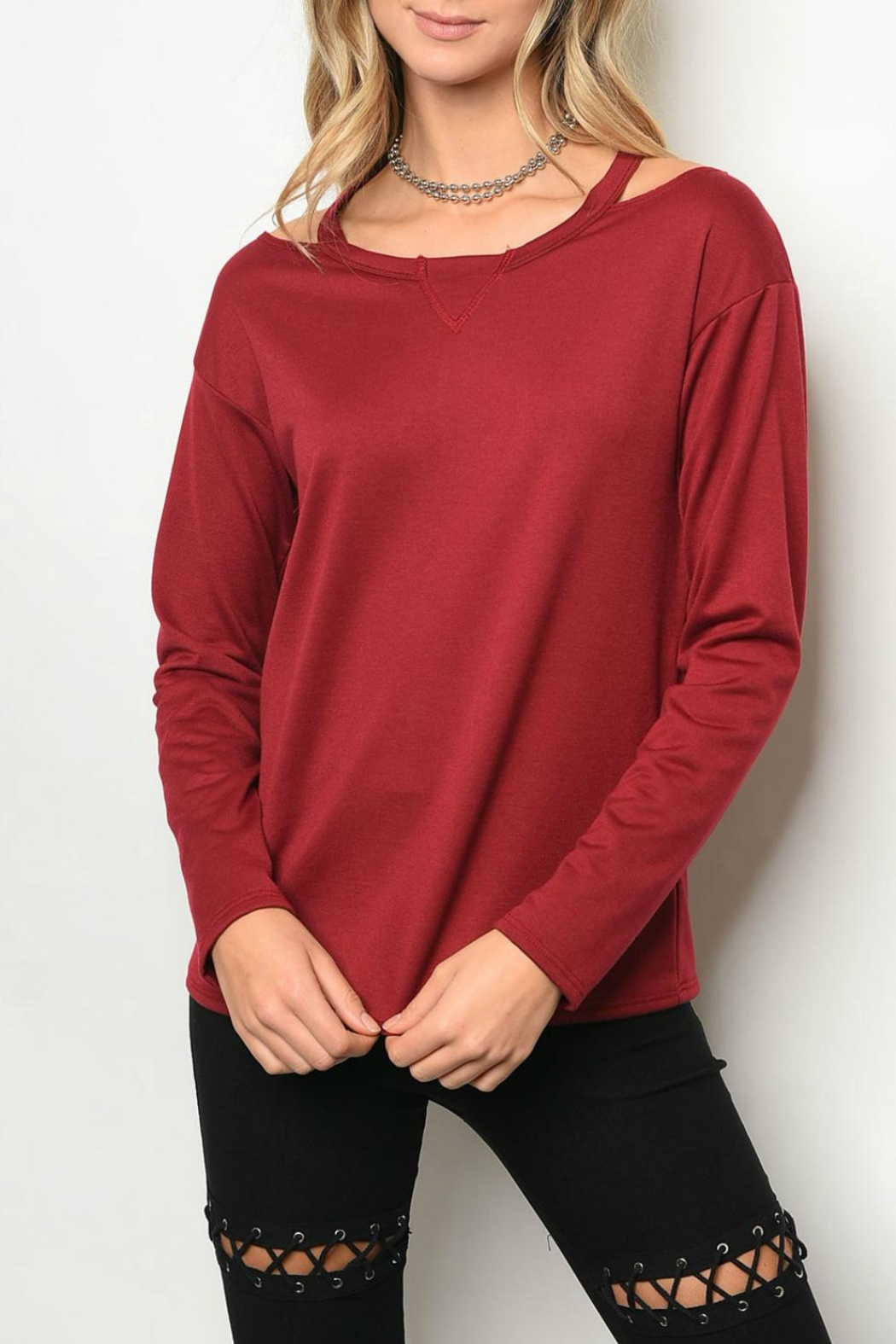 Sweet Claire Burgundy  Sweater - Main Image