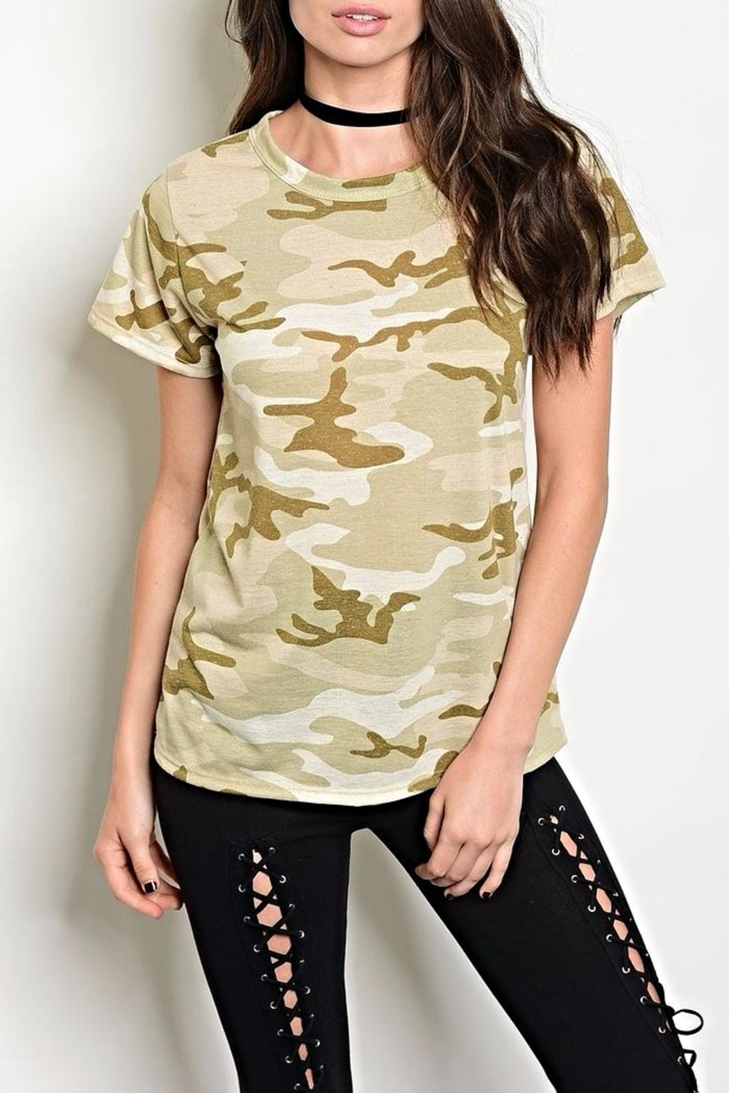 Sweet Claire Camo Tee - Front Cropped Image