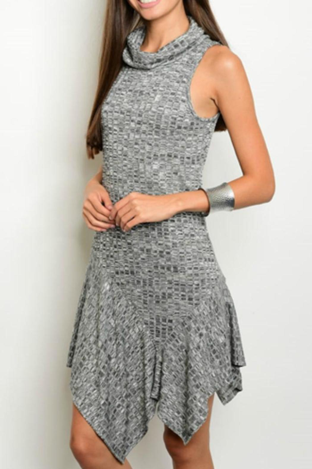 Sweet Claire Charcoal Ribbed Dress - Main Image