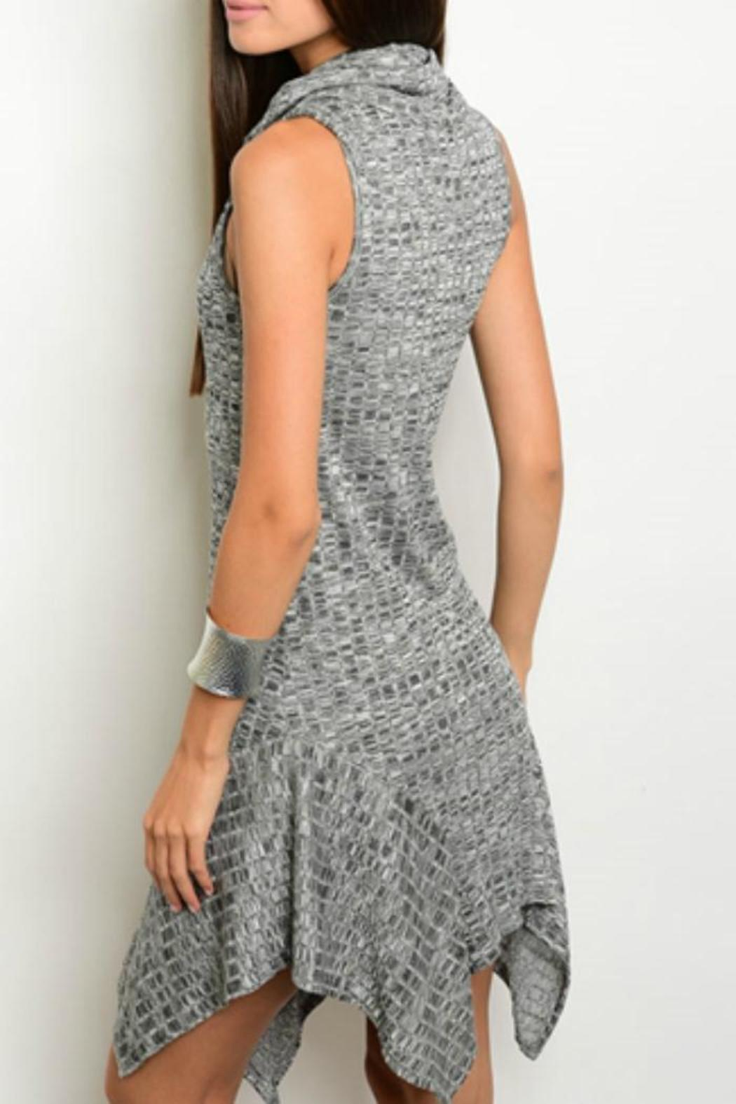 Sweet Claire Charcoal Ribbed Dress - Front Full Image