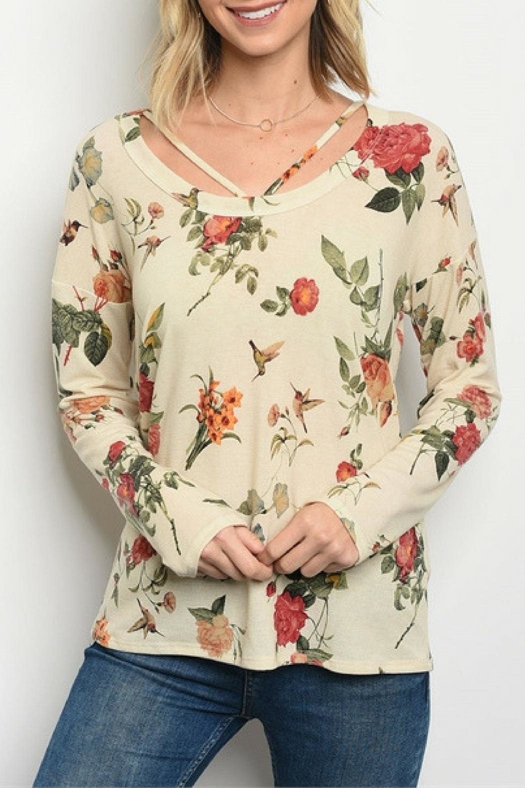 Sweet Claire Cream Floral Top - Main Image