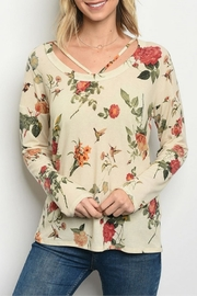 Sweet Claire Cream Floral Top - Front cropped
