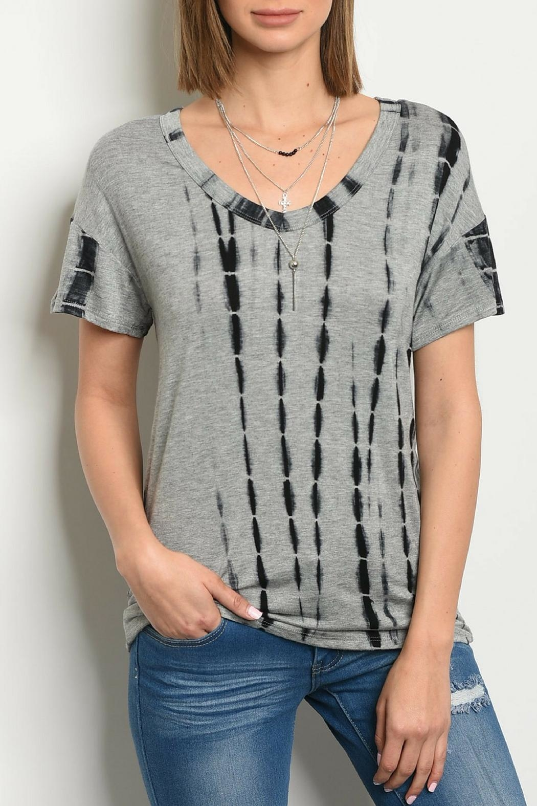 Sweet Claire Gray Tie-Dye Top - Main Image