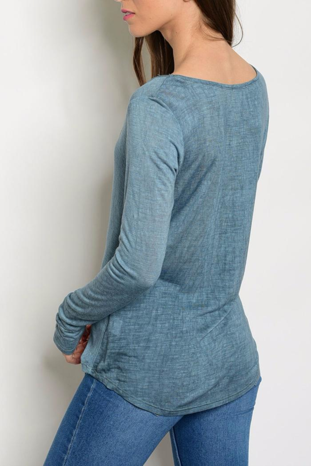 Sweet Claire Indigo T Strap Top - Front Full Image