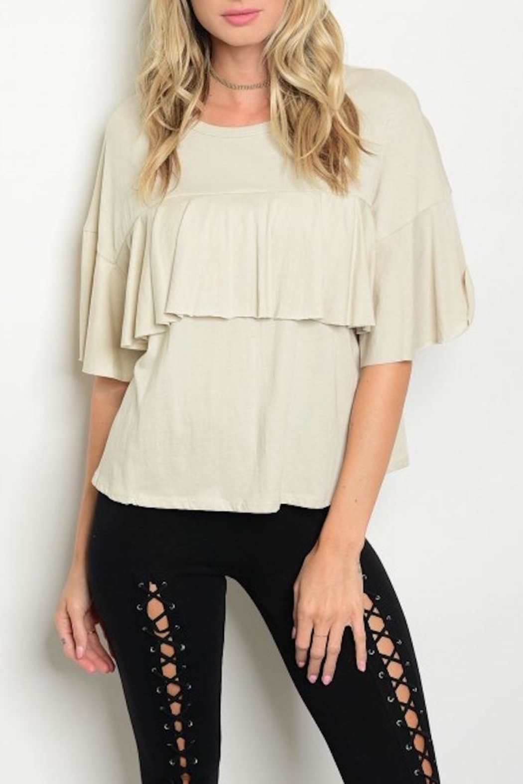 Sweet Claire Ruffle Cropped Tee - Main Image