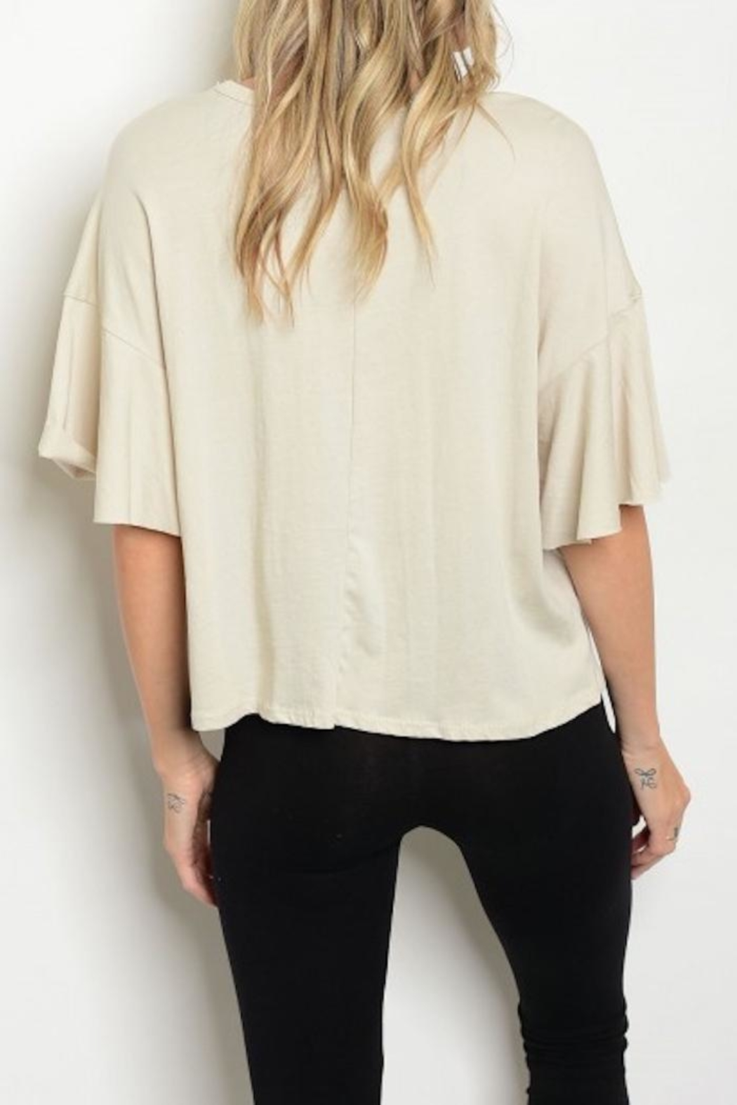 Sweet Claire Ruffle Cropped Tee - Front Full Image