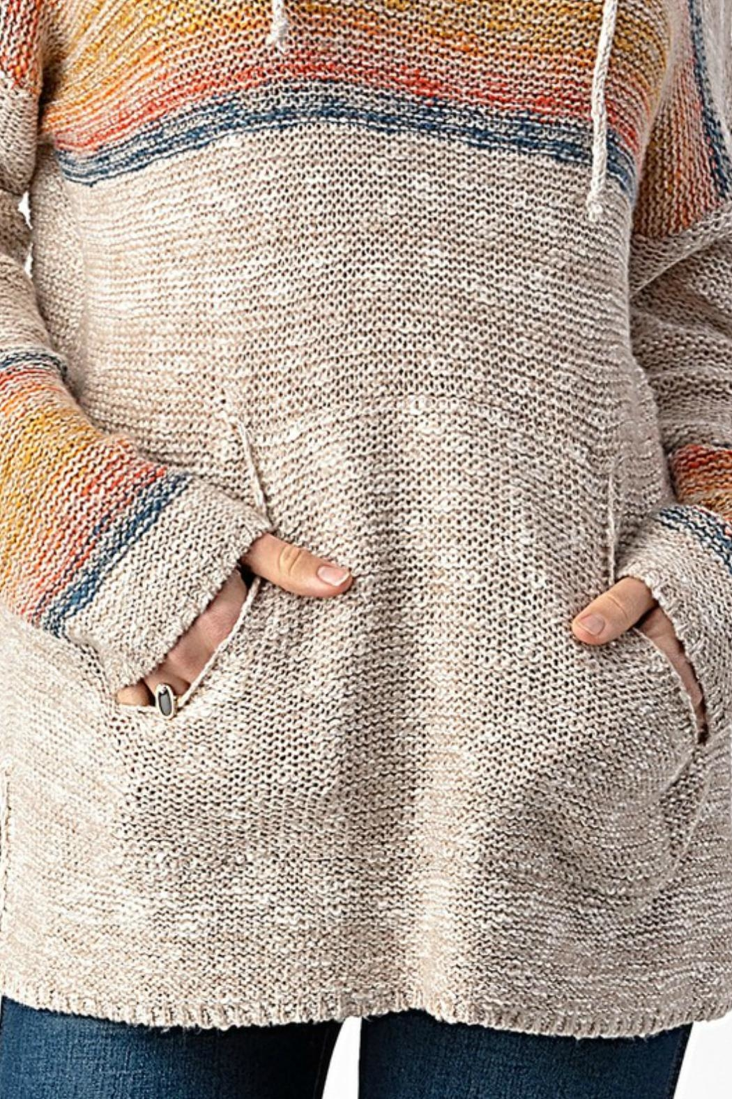 Sweet Claire Seaside Textured Hoodie - Back Cropped Image