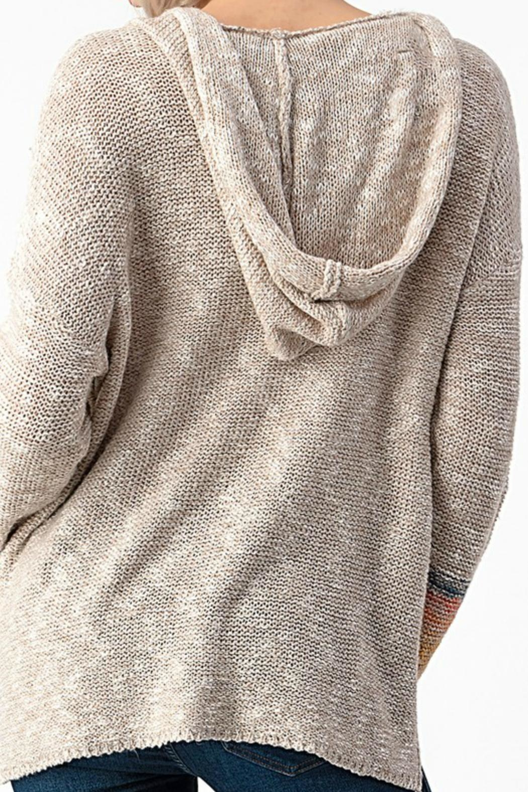 Sweet Claire Seaside Textured Hoodie - Front Full Image