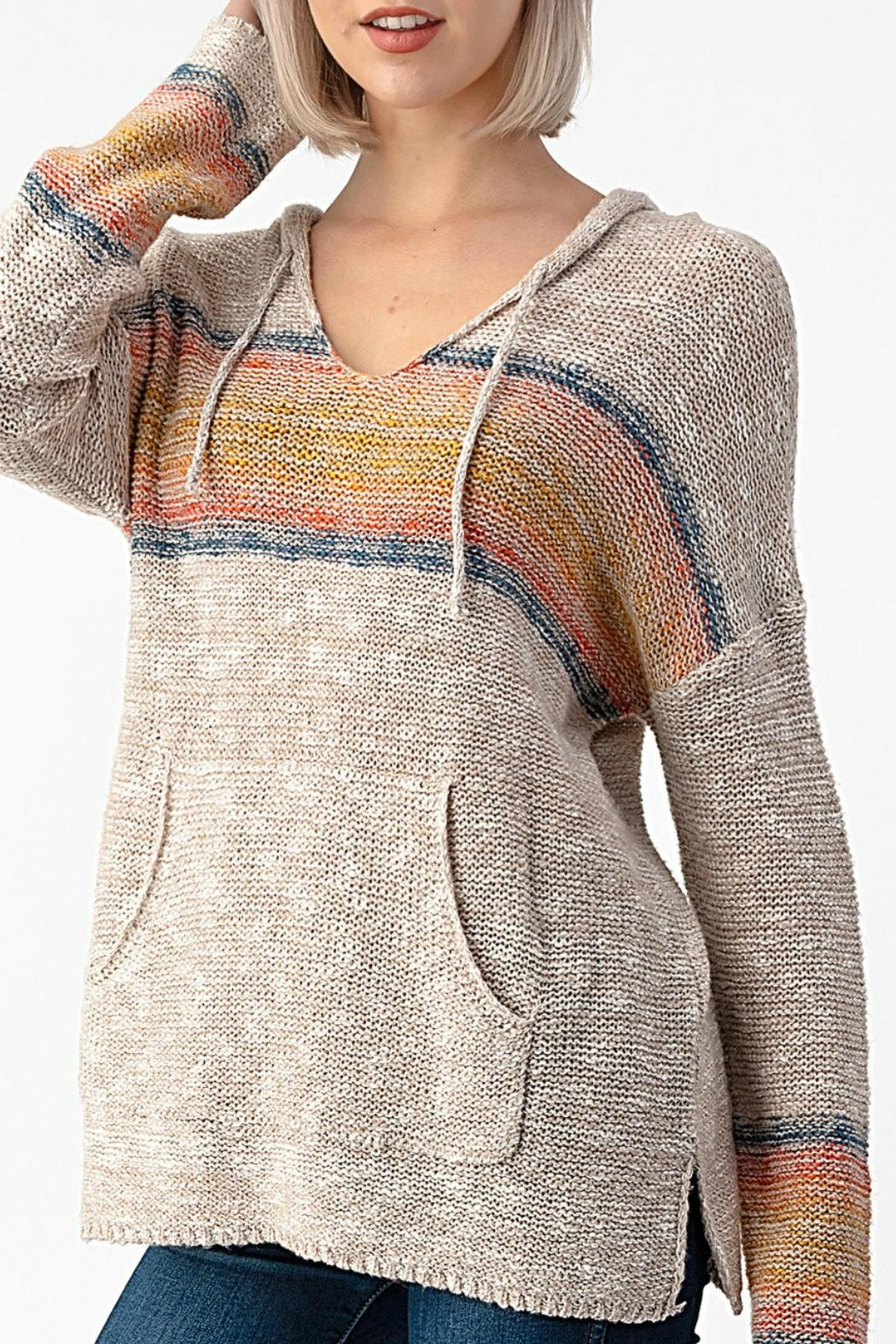 Sweet Claire Seaside Textured Hoodie - Main Image