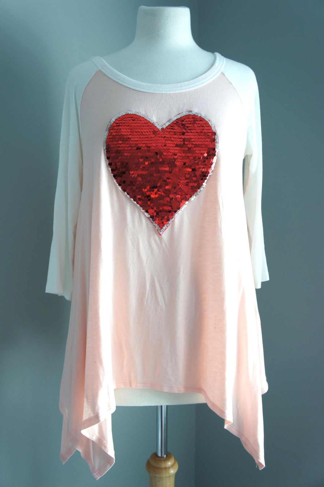 Sweet Claire Sequin-Heart Asymmetric Tee - Main Image