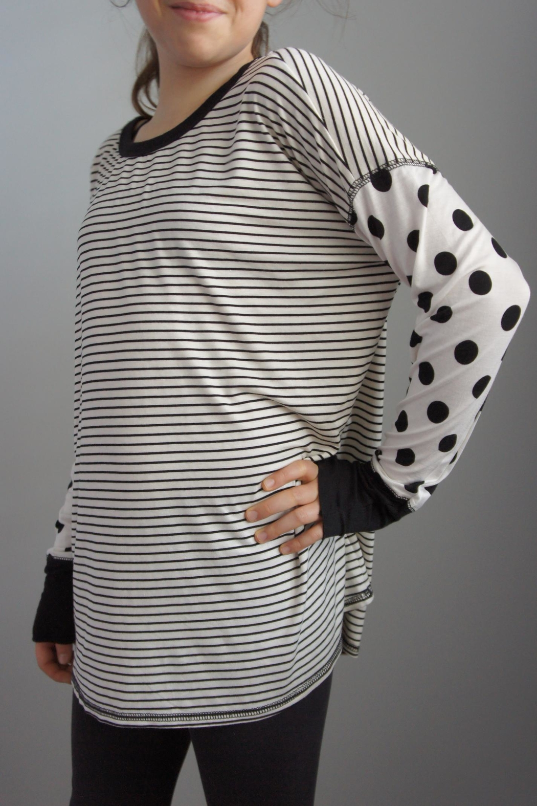 Sweet Claire Stripes Polka-Dot Top - Main Image