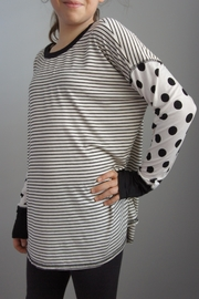 Sweet Claire Stripes Polka-Dot Top - Front full body