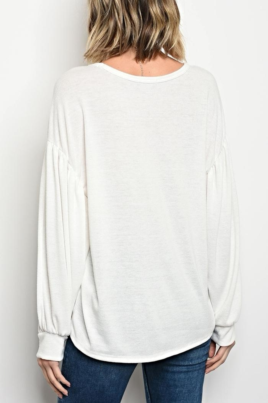 Sweet Claire White Button Sweater - Front Full Image